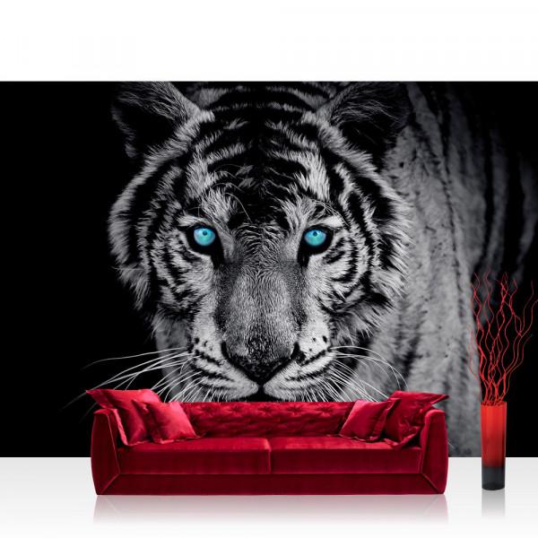 Vlies Fototapete Tiere Tapete Tiger Gesicht Auge blau schwarz-weiß blau