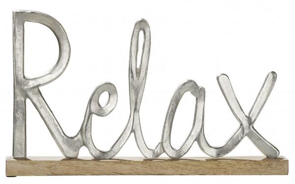 Moderner Schriftzug Aufsteller RELAX silber auf Mangoholz 43x5x25 cm