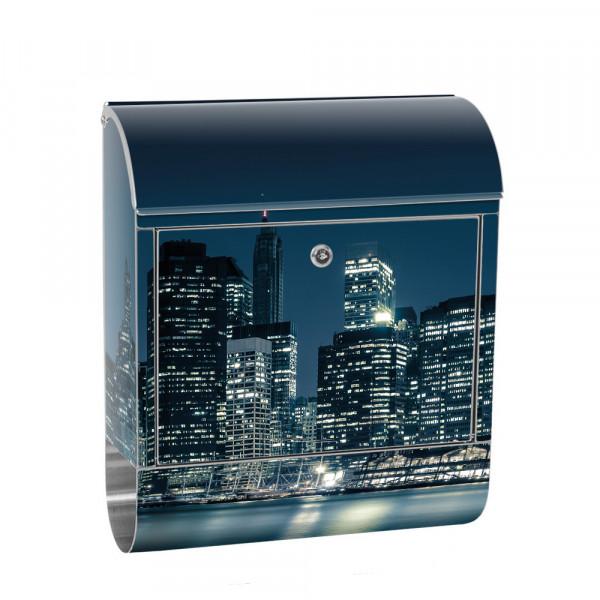 Edelstahlbriefkasten mit Zeitungsrolle & Motiv Empire State Building | no. 0022