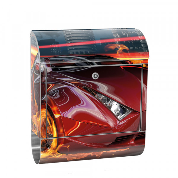 Stainless Steel Letterbox with Newspaper roll & Motif car Illustration red | No. 0323
