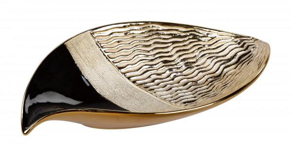 Moderne Dekoschale Obstschale Schale aus Keramik Silber Länge 27 cm