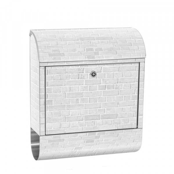 Stainless Steel Letterbox with Newspaper roll & Motif stone wall Stone Optics | No. 0137