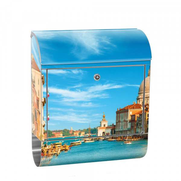 Stainless Steel Letterbox with Newspaper roll & Motif Venice Sky Italy | No. 0444