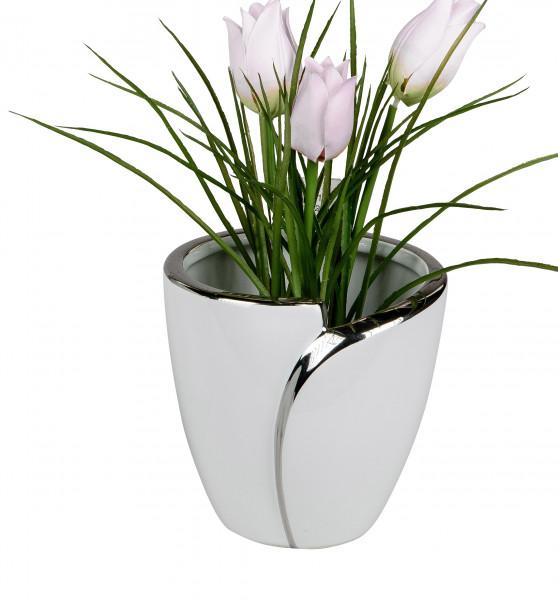 Übertopf Pflanzengefäß Vase für Blumen aus Keramik in der Farbe weiß und silber Höhe 12 cm