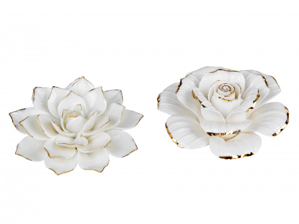 Beautiful sculptures decorative figures 2 pieces in the form of roses and flowers made of ceramic cream / gold diameter 10 cm