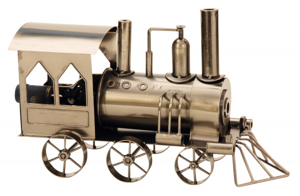 Modern wine bottle holder locomotive metal Height 23 cm length 37,5 cm