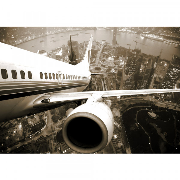 Vlies Fototapete Skyline Fligt USA Tapete Skyline Flugzeug Urlaub braun sephia schwarz - weiß