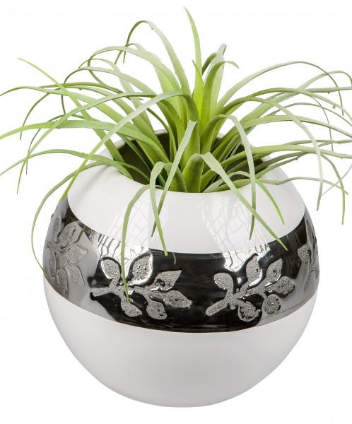 Moderne Dekovase Blumenvase Kugelvase aus Keramik weiß/silber Höhe 16 cm