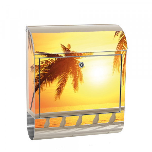 Stainless Steel Letterbox with Newspaper roll & Motif sea Sunset | No. 0123