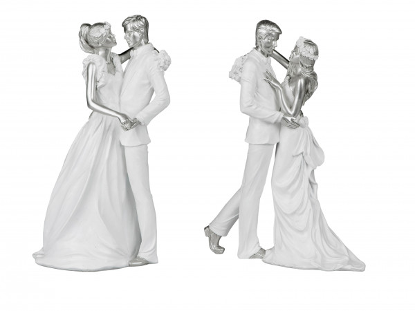 Modern bride sculpture decoration figure made of ceramic in white / silver height 26 cm
