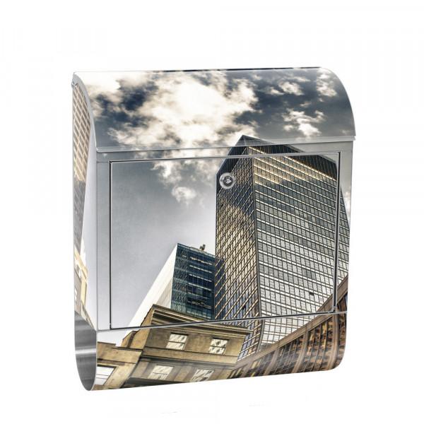Edelstahlbriefkasten mit Zeitungsrolle & Motiv Streets of NY Skyline | no. 0054