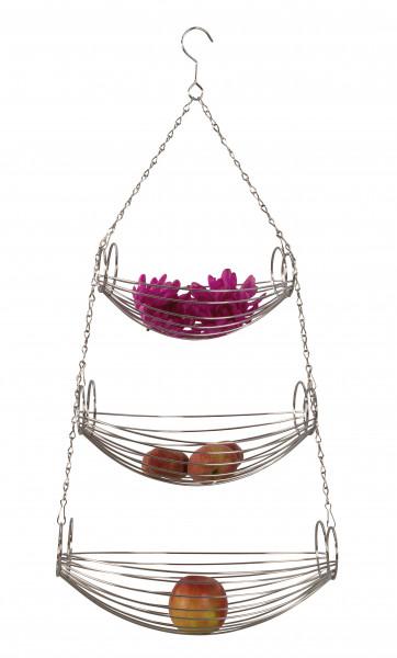 Designer Obstkorb Früchtekorb Etagere hängend aus Metall silber verchromt Höhe 70 cm Breite 20 cm