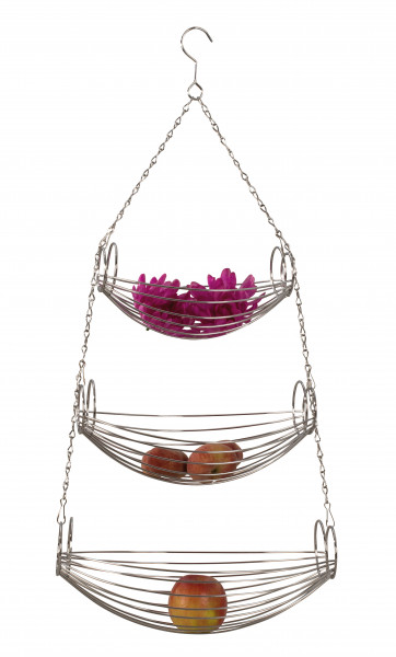 Designer fruit basket fruit basket cake stand hanging from metal silver chrome Height 70 cm width 20