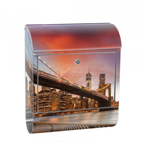 Edelstahlbriefkasten mit Zeitungsrolle & Motiv Empire State Building | no. 0021