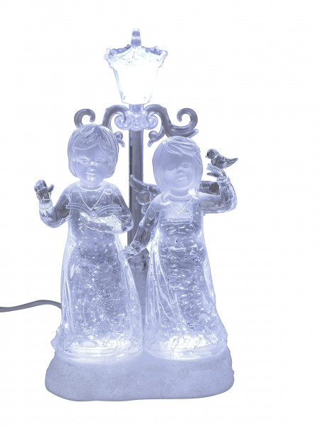 Illuminated LED Angel pair with lantern in white acrylic filled with water Height