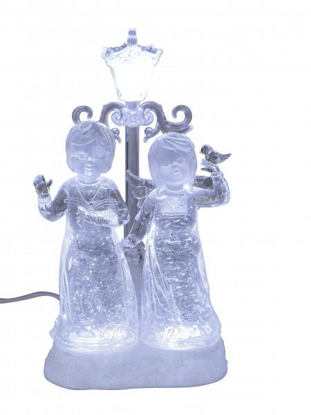 Beleuchtetes LED Engelpaar mit Laterne in weiss aus Acryl mit Wasser gefüllt Höhe