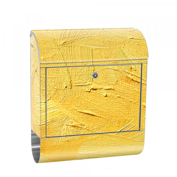 Stainless Steel Letterbox with Newspaper roll & Motif Wipe technique yellow | No. 0107